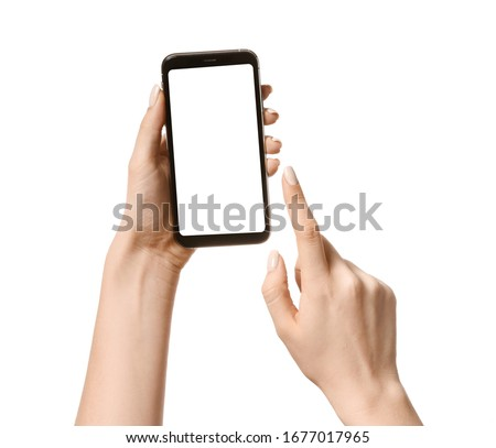 Female hands with mobile phone on white background #1677017965