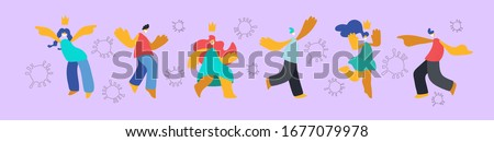 Young girls and boys in medical masks dance, frolic, jump, rejoice, wave their hands in greeting surrounded by viruses. People enjoy quarantine. Illustration in flat minimal cartoon style #1677079978