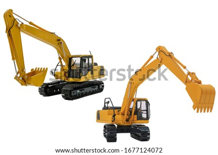 Two yellow excavator  model, machinery in heavy industry with isolated on  a white background with bucket lift up #1677124072