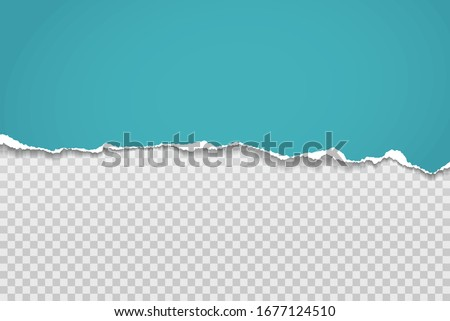 Torn, ripped piece of horizontal blue paper with soft shadow is on squared grey background for text. Vector illustration Royalty-Free Stock Photo #1677124510