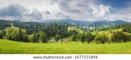 Alps mountain meadow tranquil summer view.  Mountain valley village landscape summer. Mountain village view. Village in mountains. Mountain valley village landscape.  #1677155896