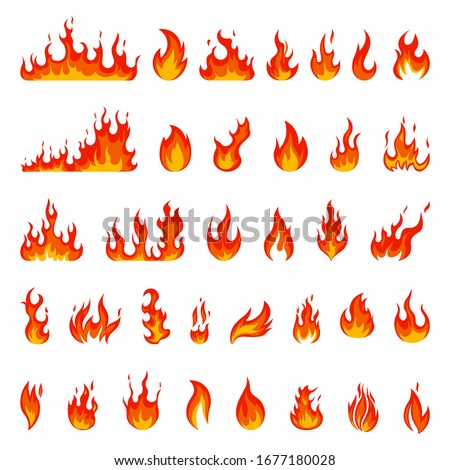 Cartoon flame. Fire fireball, red hot campfire, yellow heat wildfire and bonfire, burn power fiery silhouettes isolated vector illustration set. Fireball power light, flame bonfire energy