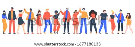 Group of smiling people. Team of young men and women holding hands, characters standing together, friendship, unity concept vector illustration. Group people woman and man standing Royalty-Free Stock Photo #1677180133