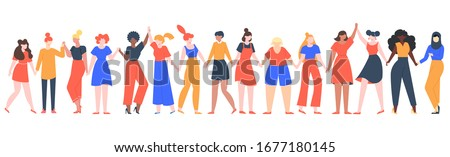 Women friendship group. Diverse female team standing together, holding hands, girls power, multinational sisterhood community vector illustration. Friendship group females, friends people diversity Royalty-Free Stock Photo #1677180145
