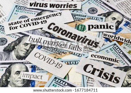 Coronavirus, Covid-19 news headlines on United States of America 100 dollar bills. Concept of financial impact, stock market decline and crash due to worldwide pandemic Royalty-Free Stock Photo #1677184711