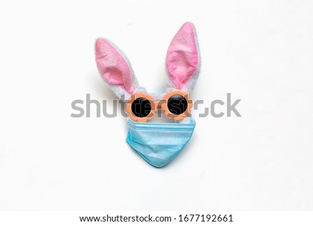 Pet bunny in protective medical masks quarantine concept for epidemic. Veterinary disease with preservation of positive. copy space, text. Bunny ears, sunglasses mask form face,