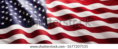 American Flag Wave Close Up for Memorial Day or 4th of July Royalty-Free Stock Photo #1677207535