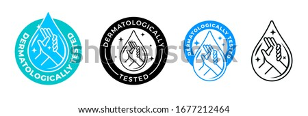 Dermatologically tested vector label with water drop, leaf and hand logo. Dermatology test and dermatologist clinically proven icon for allergy free and healthy safe product package tag #1677212464