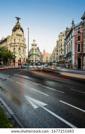 Europe, Spain, Comunidad de Madrid, Madrid, September 5th 2018, view of Gran Via with the Hotel Metropolis, Grassy bulding and Telefonica building in the background #1677251683