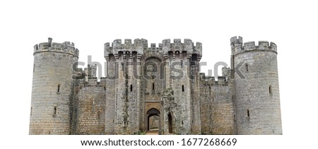 Bodiam Castle isolated on white background. It is a 14th-century moated castle near Robertsbridge in East Sussex, England Royalty-Free Stock Photo #1677268669