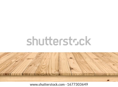 Empty brown old plank wooden board mock up display shelf with isolated white copy space and clipping path. Beautiful textured and pattern of tabletop panel build from reused wood pallet background. #1677303649