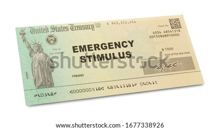 Emergency Stimulus Check Isolated on White Background. Royalty-Free Stock Photo #1677338926