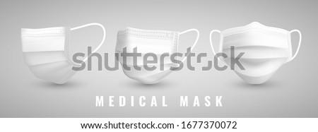 Realistic medical face mask. Details 3d medical mask. Vector illustration. #1677370072