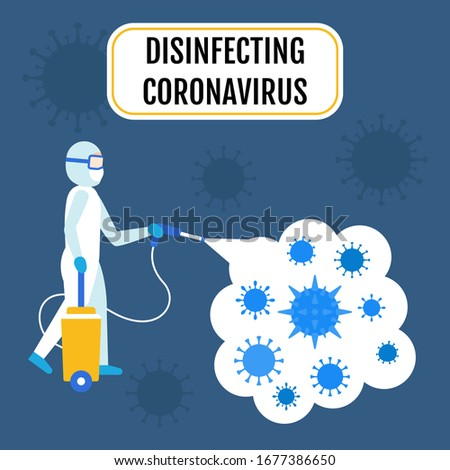 coronavirus covid-19 related spray man wearing prevention costume with spray gun and spray bubbles with bacteria vectors illustration in flat design