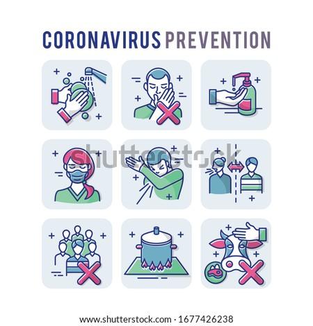 Coronavirus Prevention Set Icons Thin Style Pictogram Minimalist Colored #1677426238