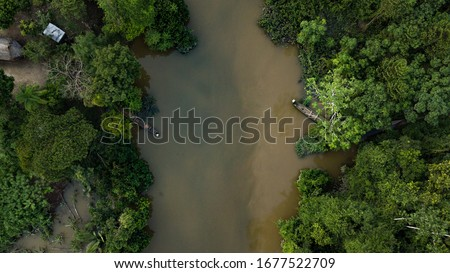 Aerial photo of jungle river in amazon rainforest in Peru