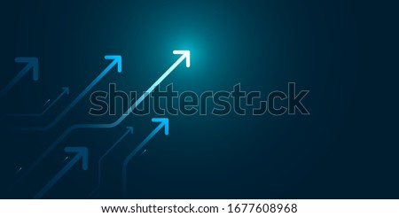 Glow up arrows circuit on dark blue background copy space digital business growth concept #1677608968