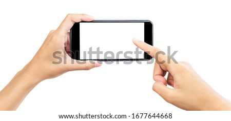 Hand holding mobile smart phone with blank screen. Isolated  white  background and clipping path.