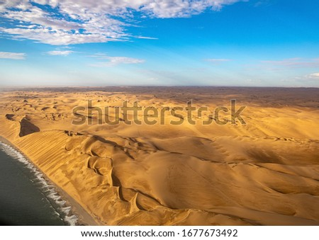 Aerial picture of the so called Great Wall at the Atlantic Ocean on the Skeleton Coast in western Namibia  during summer