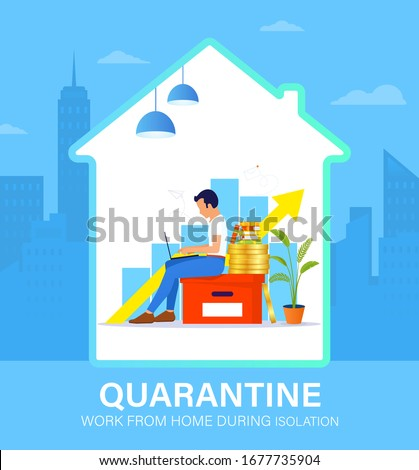 Self isolation concept. Young man working from home during Covid-19. All stay at home. Self-isolate from a pandemic. Remote work from home during Quarantine. Vector flat illustration #1677735904
