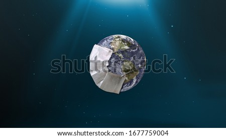 The Earth wears a mask to prevent the spread of the virus. Planet Earth with face mask protect to fight against Corona virus. 3D Render earth wearing Mask protection Isolated with Clipping path.