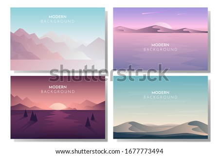 Abstract landscape set, Vector banners set with polygonal landscape illustration, Minimalist style #1677773494