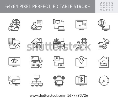 Work from home line icons. Vector illustration included icon as freelance worker with laptop, workspace, pc monitor, business outline pictogram for online job. 64x64 Pixel Perfect, Editable Stroke. #1677793726