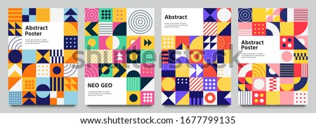Colorful neo geometric poster. Grid with color geometrical shapes. Modern abstract promotional flyer background vector illustration set. Geometric template poster, brochure neo pattern Royalty-Free Stock Photo #1677799135