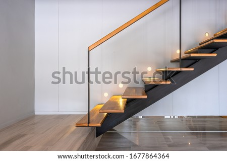 Stairway lights bulb for illumination as safety protection wooden stairs architecture interior design of contemporary, Modern house building stairway #1677864364