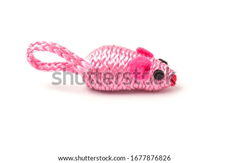 one pink toy mice for a pet cat isolated on  white background, close-up