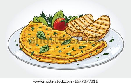 Vector illustration of a herb omelette with oregano, chives, tomato and grilled bread slices on a plate. #1677879811