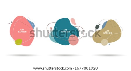 Set of abstract different shapes. Minimal fluid banner design with copy space for text. Isolated dynamical art form for social media stories. Royalty-Free Stock Photo #1677881920