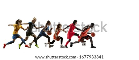 High. Young sportsmen running and jumping on white studio background. Concept of sport, movement, energy and dynamic, healthy lifestyle. Training, practicing in motion. Flyer. Football, basketball. Royalty-Free Stock Photo #1677933841