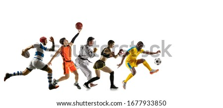 Young sportsmen running and jumping on white studio background. Concept of sport, movement, energy and dynamic, healthy lifestyle. Training, practicing in motion. Flyer. Basketball, football, rugby. #1677933850