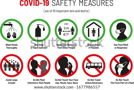 Set of Corona Virus COVID-19 Safety Measures and Precautions Warning Signs - How to Protect Yourself and Others - What To Do Signs - Infographics Poster Suitable for Print #1677986557