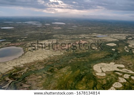 Aerial view, Timan tundra, Nenets Autonomous Okrug, Arkhangelsk Region, Russia