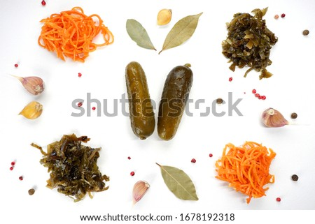 Pattern of pickled vegetables: cucumber, carrots, seaweed. View from above #1678192318