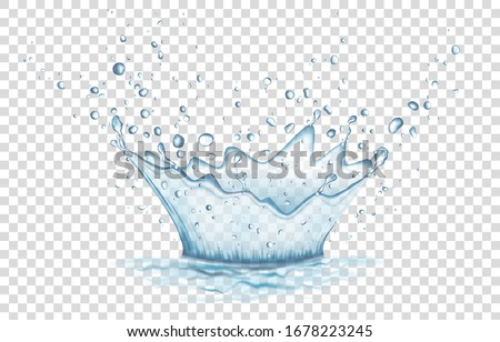 Blue water splash and drops isolated on transparent  background. Aqua crown. Vector illustration. #1678223245