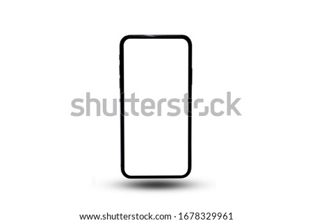 Black smartphone with blank screen isolated on white background. Mockup to showcasing mobile web-site design or screenshots your applications - Clipping Path #1678329961