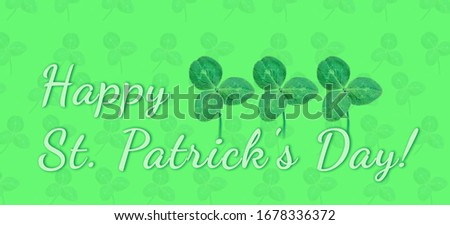 Happy Saint Patrick's day, wide banner with lucky clover on green background #1678336372