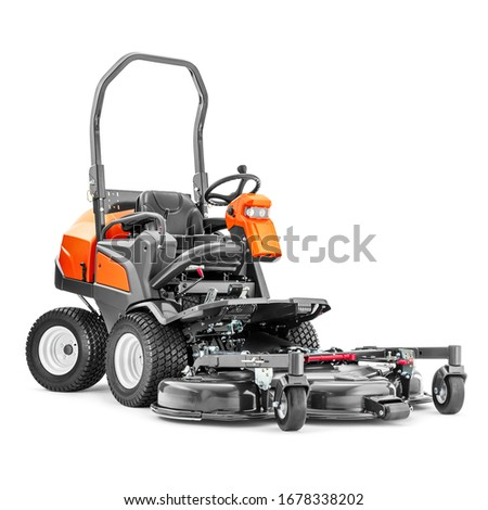 Commercial Front Deck Ride-on Lawn Mower Isolated on White Background. Side Front View High Capacity Diesel Powered Lawnmower Machine with Front-Mounted Cutting Deck. Garden Power Tool Equipment