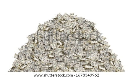 Pile with american one hundred dollar bills isolated on white background Royalty-Free Stock Photo #1678349962
