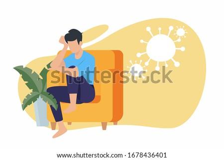 Corona virus - staying at home (self-isolation). Home Quarantine illustration. Corona virus self-quarantine. Isolation period at home. Self-isolation shield from coronavirus. Vector.  #1678436401