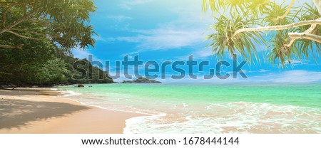 Panorama summer on the beach in Thailand.blue sky and white clouds. Freshness of the new day. Bright blue background. Relaxing feeling like being in the sky.Coconut trees on the beach.sand and sea. #1678444144