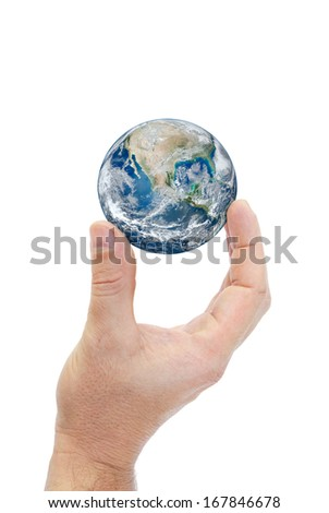 """Hand holding planet earth isolated on white background.""""Elements of this image furnished by NASA"""" #167846678"""