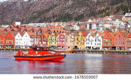 Beautiful scenery of Bergen city during winter time of Norway, Arctic,Scandinavia, Europe in March 2018. #1678503007