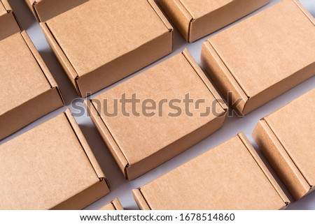 Lot of brown cardboard boxes, copy space Royalty-Free Stock Photo #1678514860