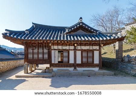 Traditional Korean style architecture at Hanok Village. Traditional Korean house. Traditional window of Hanok. Korean traditional window or Door. #1678550008