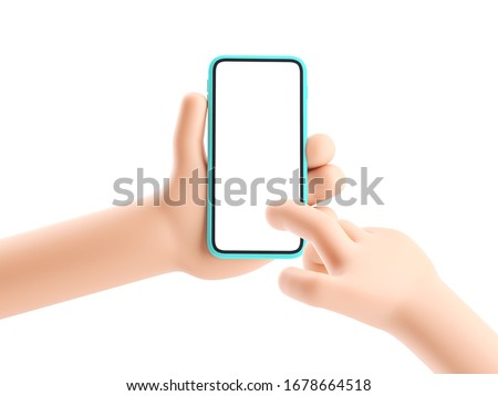 3d illustration. Cartoon hand holding phone on white background. Cartoon device Mockup.