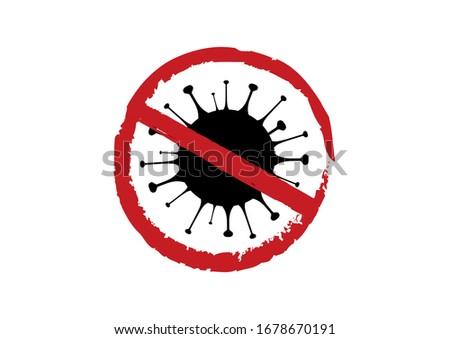 Stop Coronavirus disease COVID-19 illustration. Coronavirus disease icon isolated on a white background. COVID-2019 clip art. Stop flu virus illustration. Stop virus symbol icon. Germ black silhouette